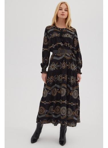 Pattaya Pattaya Kadın Desenli Robalı Uzun Elbise P21S110-7491-1 Siyah